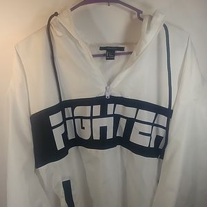 Forever 21 Large White Fighter Nylon Quarter Zip